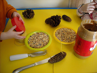 DIY Pine cone bird feeders