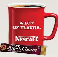 red nescafe coffee mug, taster's choice instant coffee