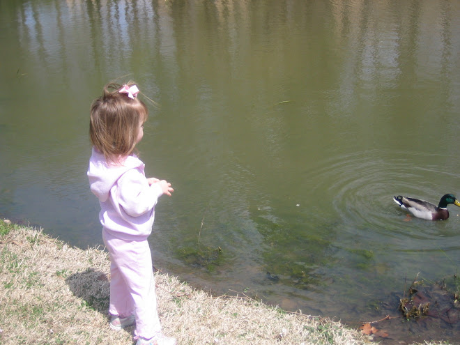Abigail feeding ducks