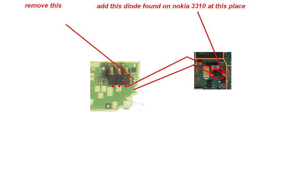 Remove this and add this diode found on nokia 3310 at this place