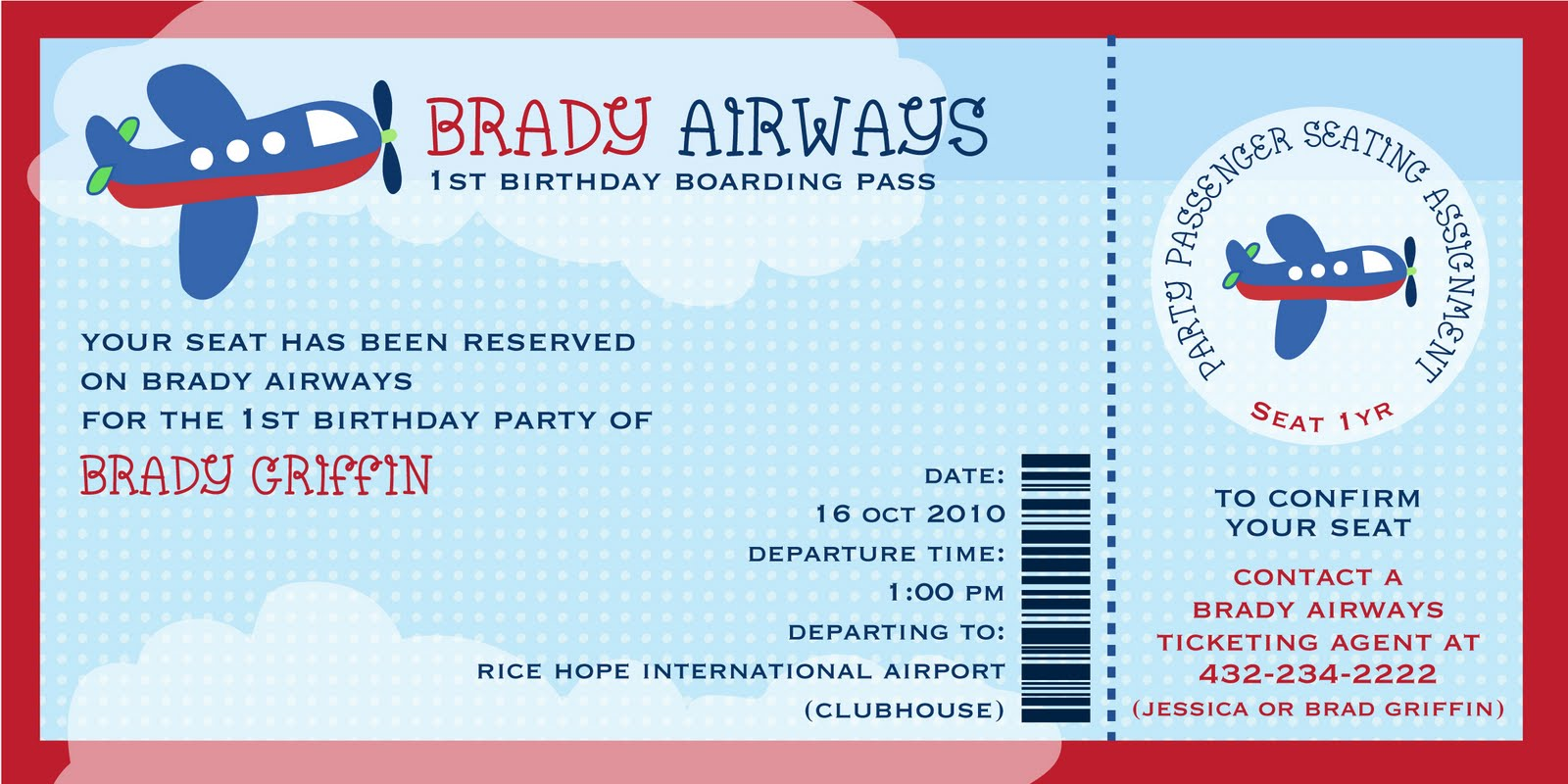 Bradyu0027s Airplane 1st Birthday Party