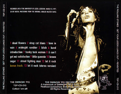 Rolling Stones Get your leeds lungs out swingin pig liberated bootleg back cover