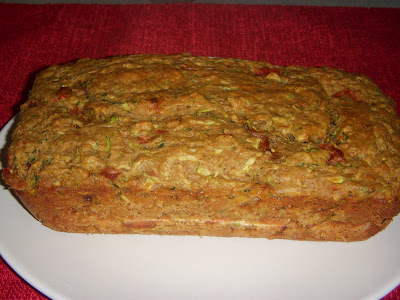 Savory Zucchini Bread with Roasted Red Peppers and Feta