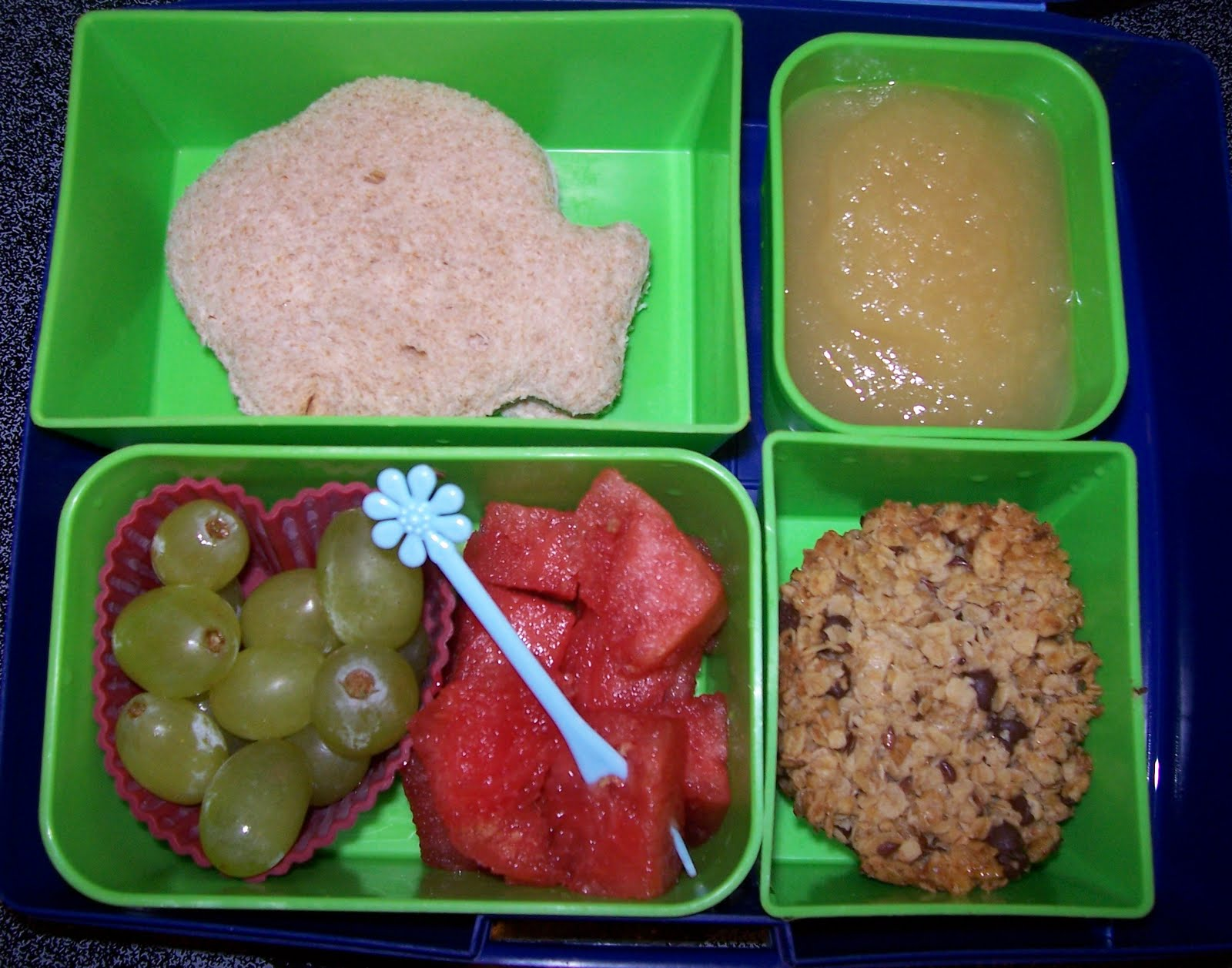and mustard sandwich applesauce grapes watermelon and a granola cup