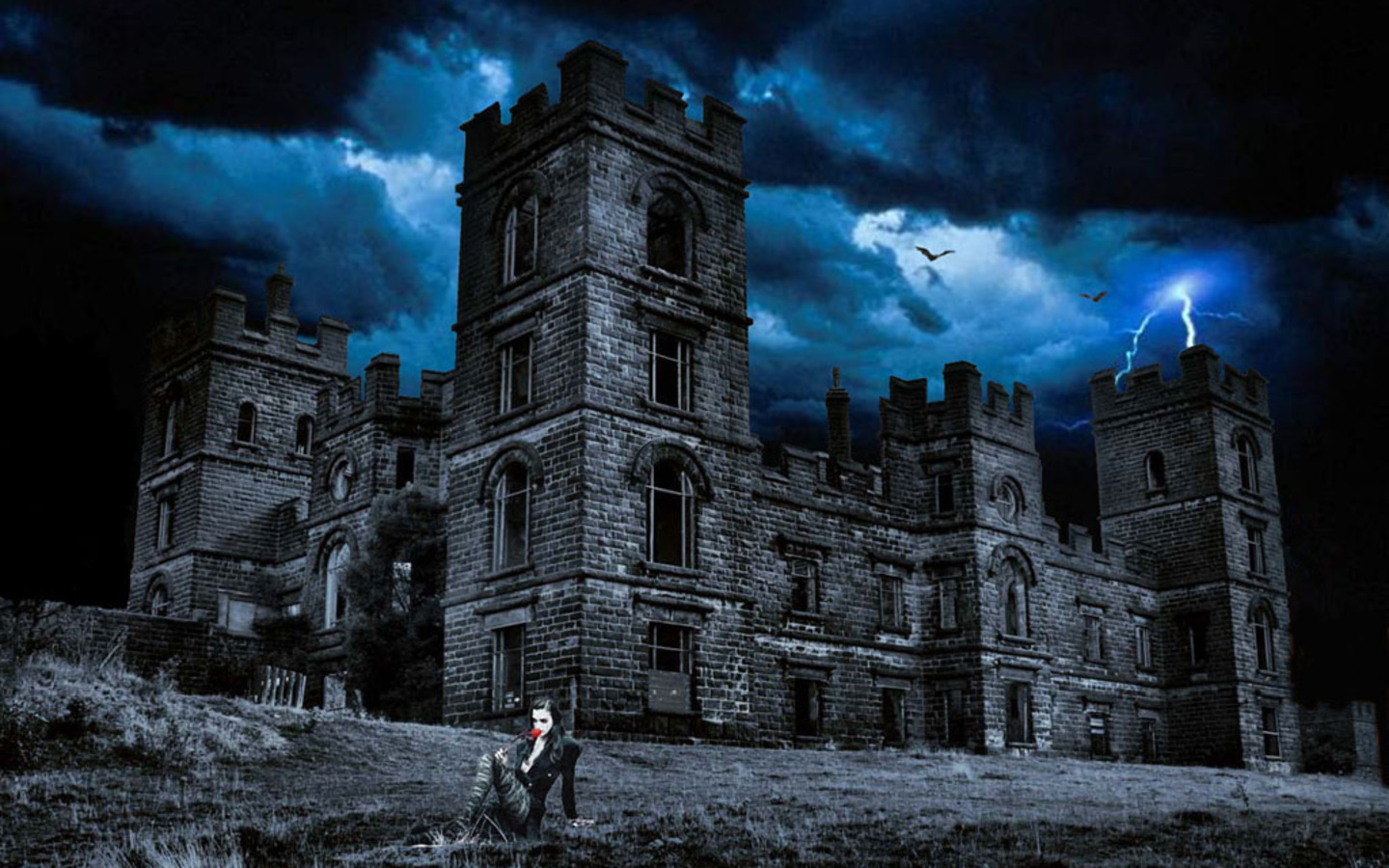 Horror ghost houses wallpapers hq image size 1440x900 for Wallpaper with houses on