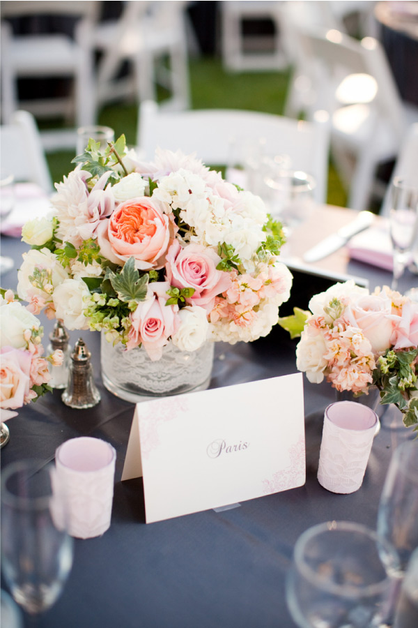 Decorella gray and pink wedding
