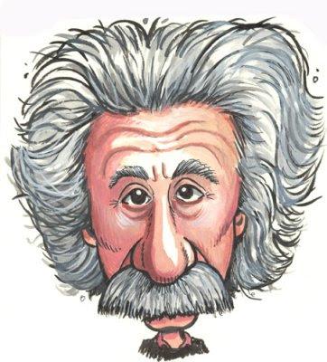 Caricatura de Albert Einstein exemplifica a popularidade desse cientista.