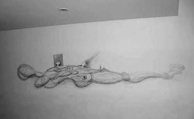 desenho grafite - o homem boiando 02