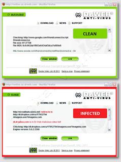 Imagem -  resultado de verificação link no Dr. Web