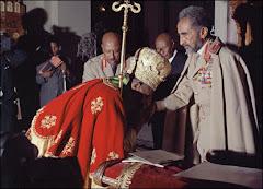 Patriarch Theophlos kisses Emperor's hand