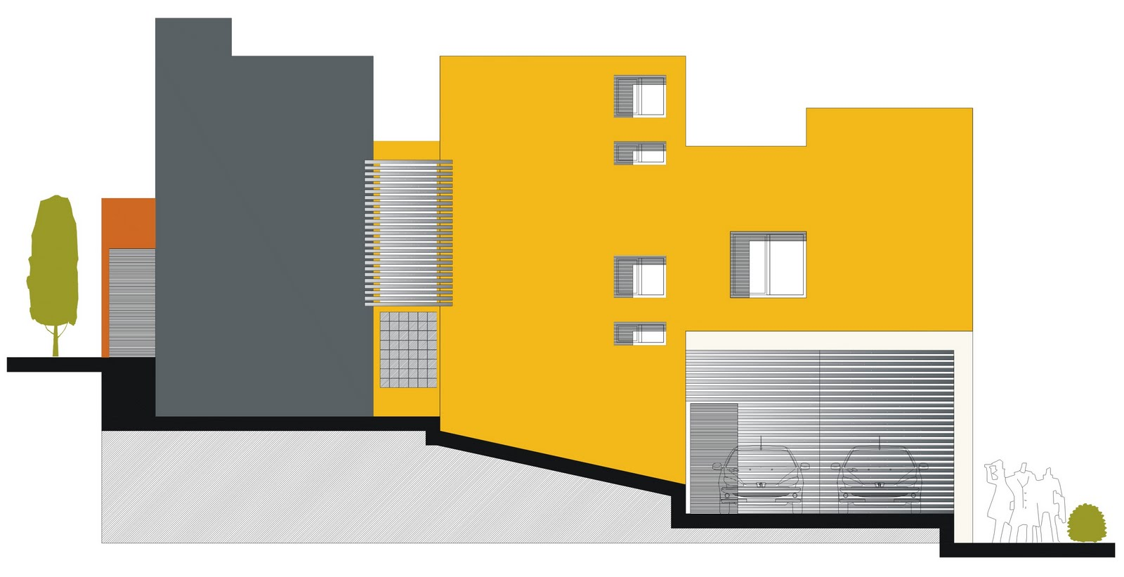 Dibujos y proyectos arq francisco a proyecto for Fachadas de departamentos pequenos