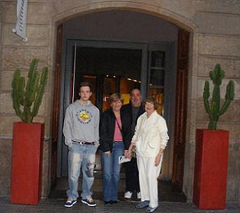 Aidan, aunt Deirdre, family friend Jill and me outside 24 (photo by Liz)
