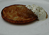 Latkes with apple sauce and sour cream