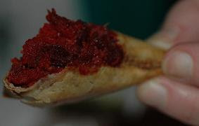Beetroot & coconut samosas