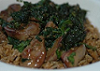 Surf and turf chicken livers with soy spinach and wild rice