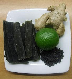 Ginger, kombu, lime and sesame