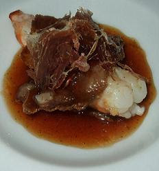 Iberian pork tails with pan-fried langoustines