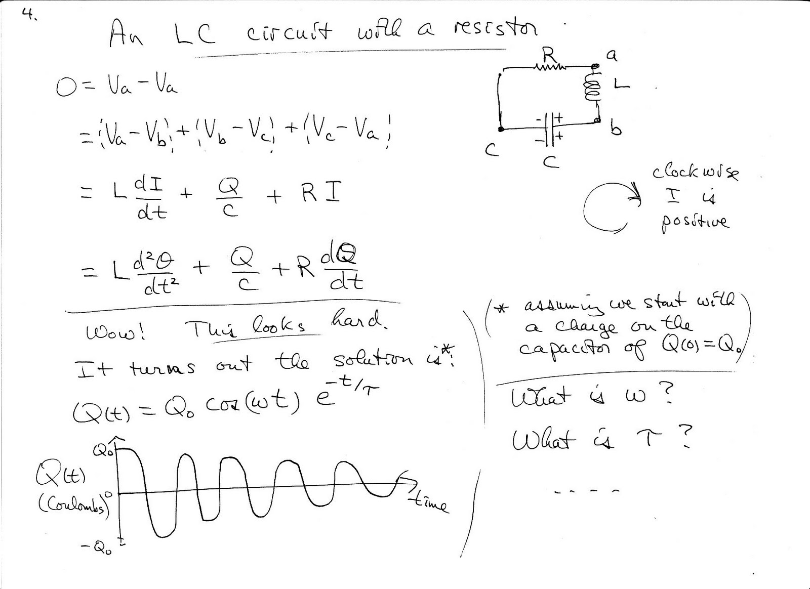 Lc Circuit Differential Equation Passive Networks Rlc Transfer Function Through Band Physics C Fall Notes On Oscillating Circuits