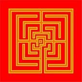 Infogravuras compostas de combinações cromáticas formando labirintos.