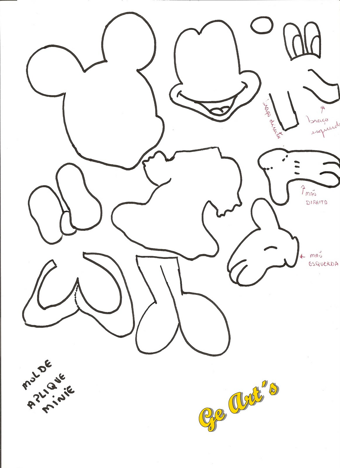 Ge Art S Presentinhos Para Voc Moldes Apliques Mickey E Minie