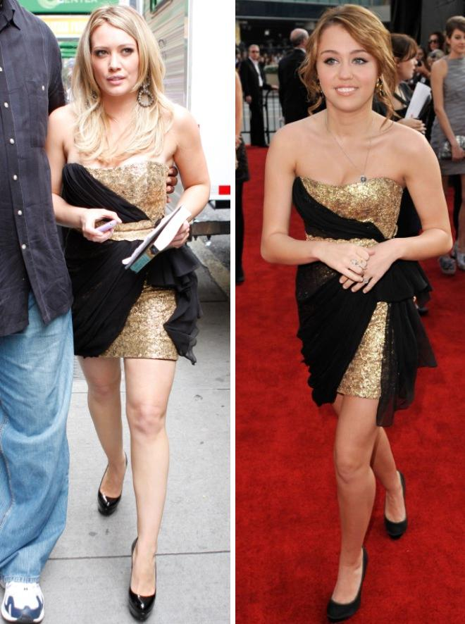 hilary miley black dress