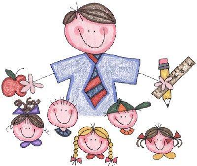 Dibujo de profe rodeado de niños