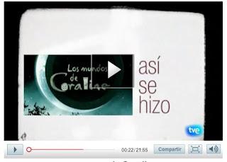 Carátula de presentación del vídeo y enlace al programa de TVE Así se hizo: Los mundos de Coraline