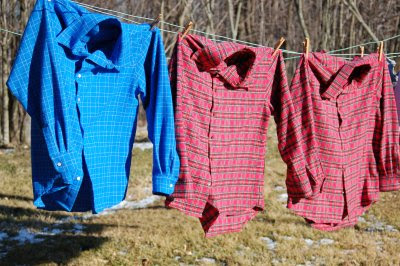 Three new flannel shirts on the clothesline