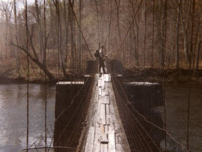 Paul on swinging bridge over the Greenbrier