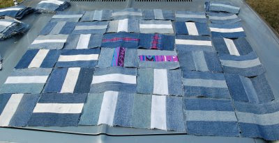 Denim patchwork cover experimental layout 2