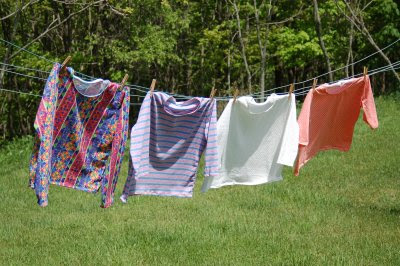 Tee shirts on clothesline