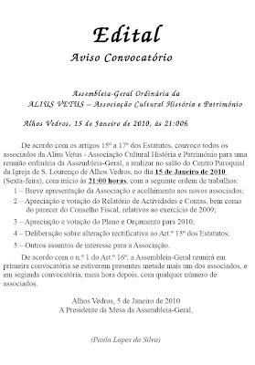 ALIUS VETUS realiza Assembleia Geral ordinária