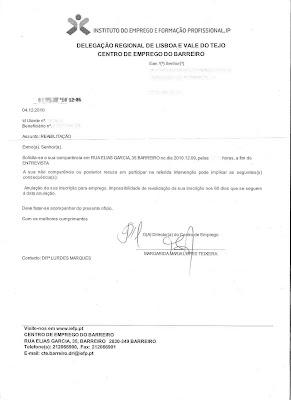 Oficio enviado pelo Centro de Emprego do Barreiro fora do prazo para apresentação do utente