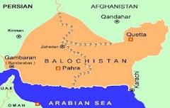 خريطة بلوشستان المحتلة المقسمة