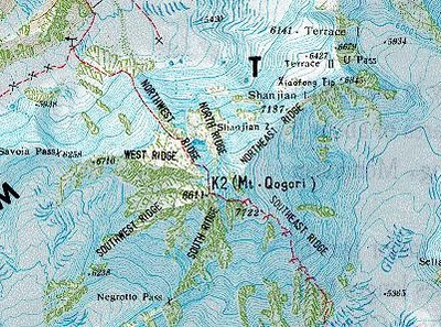 K2 Mountain Map k2 Mountain Map Topographical Map of k2