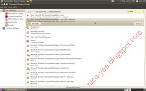 Cara install Wine melalui add/remove program