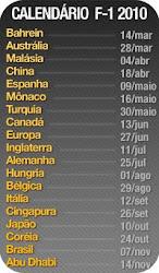 Calendario das provas de Formula-1 2010