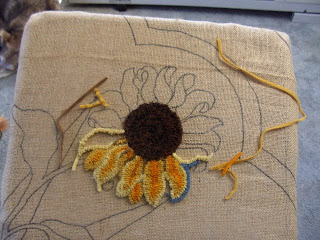Rug Hooking Sunflowers