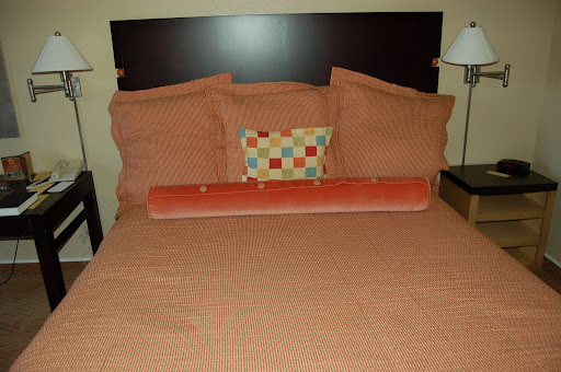 bed in Portola Hotel, Monterey, CA