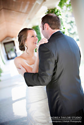 bride and groom see each other first time before wedding