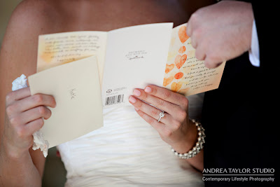 bride and groom read groom's letter together