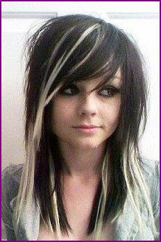 scene+hairstyle+in+straight+black+or+blond+blended+with+black. Emo Scene Girls Hairstyles for Medium Short Hair