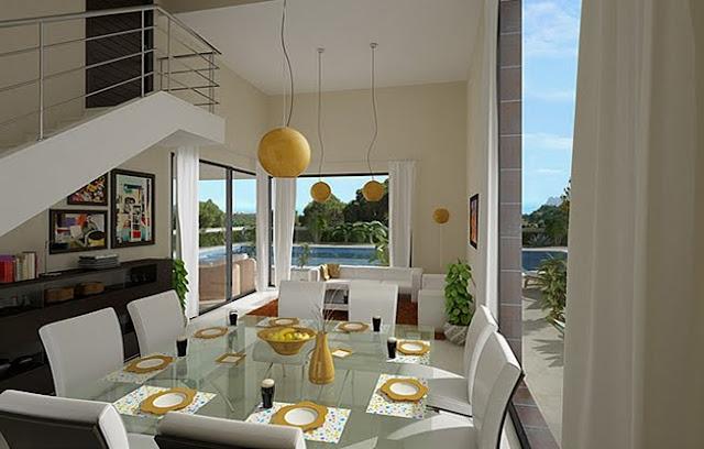 Casas 3d bella fachada de vivienda con vista panoramica Casas modernas grandes por dentro