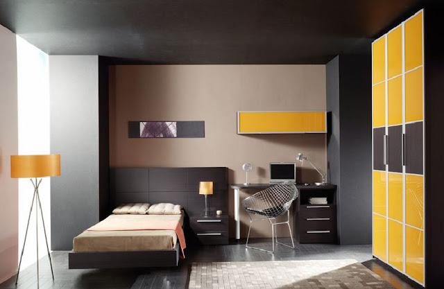 Dormitorio juvenil y elegante con toque de color negro y lúcuma by dormitorios.blogspot.com