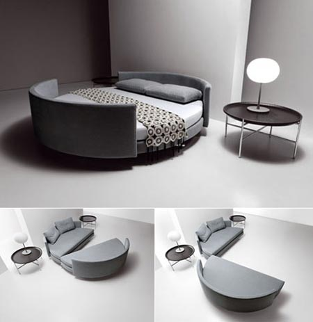 Cama redonda Scoop bed via www.dormitorios.blogspot.com