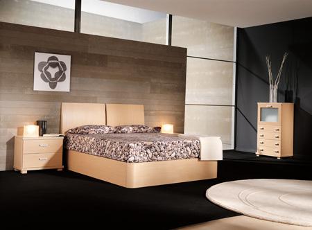 Dormitorio elegante con cubrecama de piedras