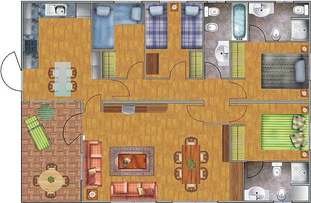 Plano de casa de 100 43m2 con 4 dormitorios planos de for Habitaciones 3d gratis