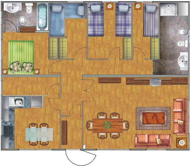 Planos de casas gratis y departamentos en venta plano de for Precio construir casa 120 metros