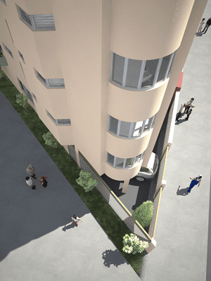 Fachadas de casas en edificio de departamentos en esquina for Edificios minimalistas fotos