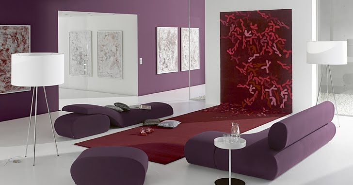 Decoracion de sala morada con alfombra roja salas y for Casa minimalista rojo